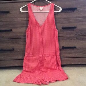 Romper with tie waist and button detail